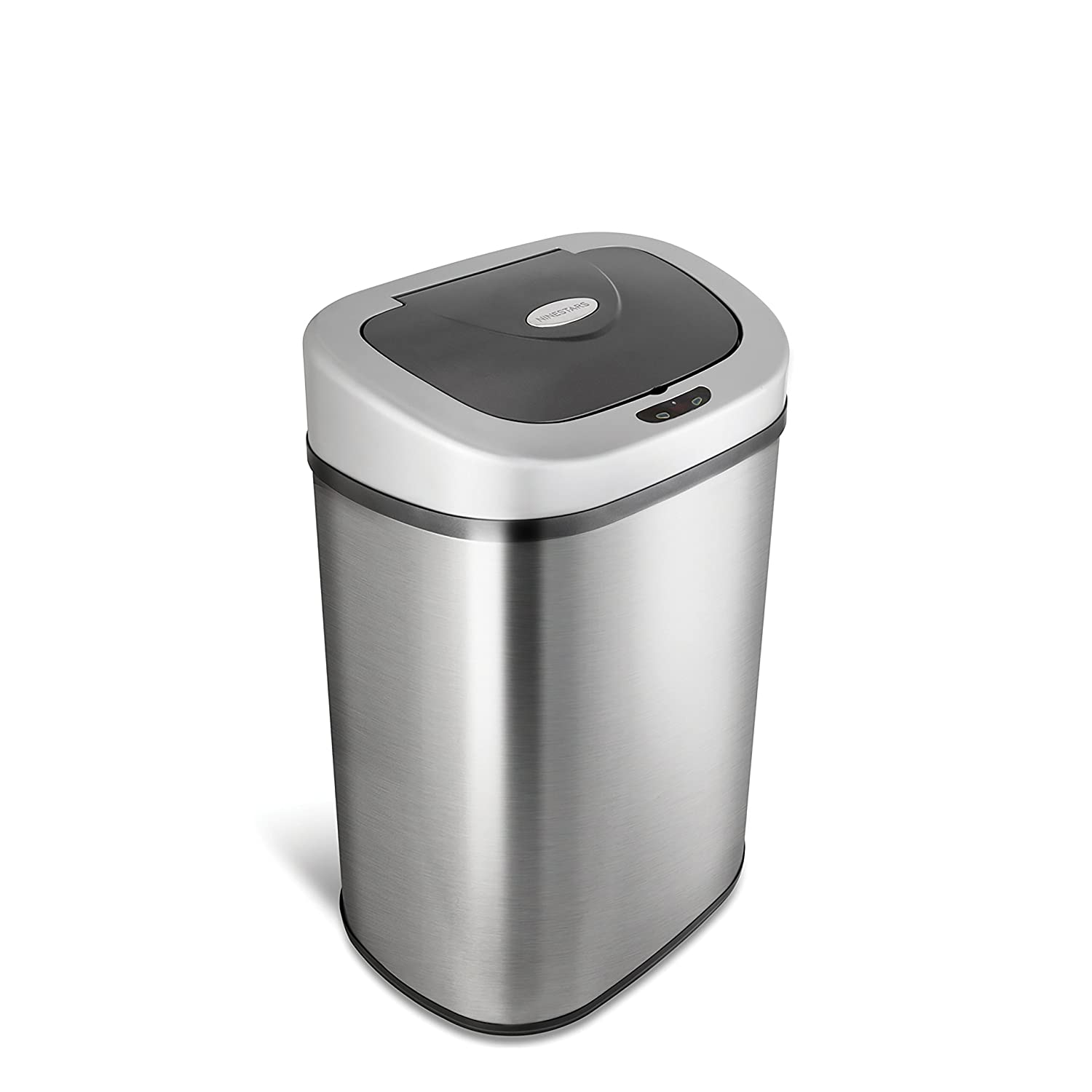 NINESTARS Automatic Touchless Infrared Motion Sensor Trash Can with Stainless Steel Base & Oval, Silver/Black Lid 21 Gal