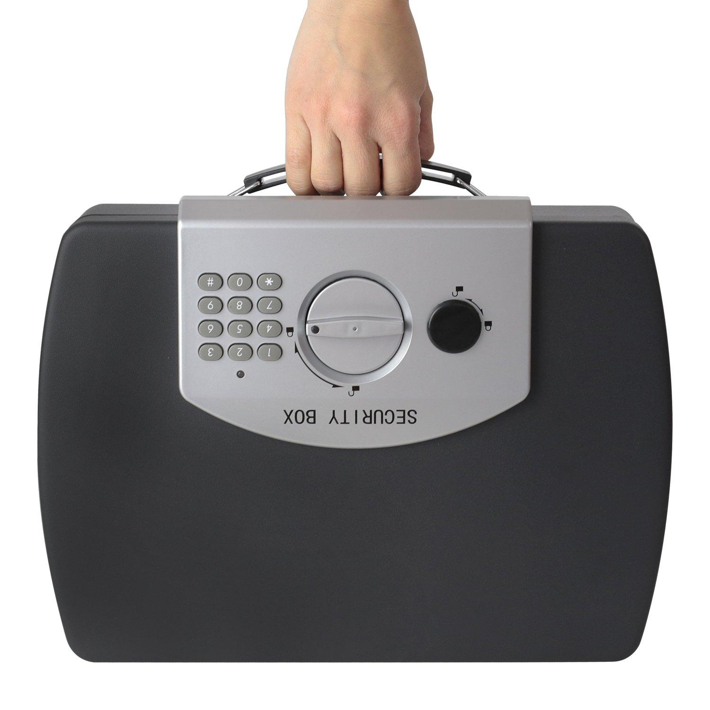 HMF 1608-02 Cassaforte per documenti e denaro, chiavistello elettronico, con filo corda, 33,0 x 23,6 x 8,8 cm, Nero
