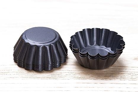 bakerdream Mini redondo antiadherente para tartas pan, molde para tartaletas molde de tarta de huevo