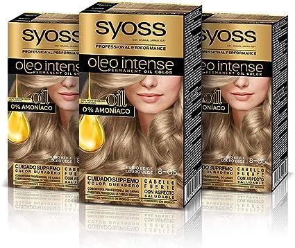 Syoss Oleo Intense - Tono 8-05 Rubio Beige (Pack De 3) – Coloración permanente sin amoníaco – Resultados de peluquería – Cobertura profesional de ...