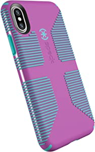 Speck Products CandyShell Grip Cell Phone Case for iPhone XS/iPhone X - Beaming Orchid/Mykonos Blue