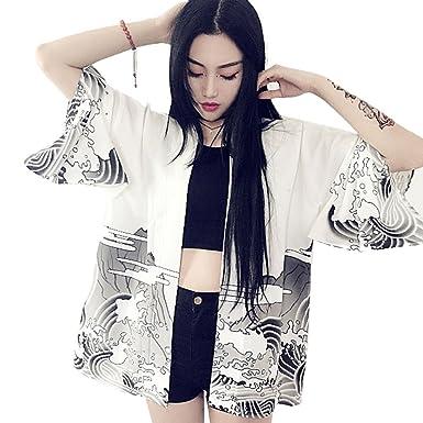 d455c75cd ZooBoo Women Japanese Kimono Cardigan - Autumn Harajuku Ancient Style  Bathrobe Cardigan Sunscreen Clothes Pajamas Jacket Feather Knitting Coat -  White/Black ...