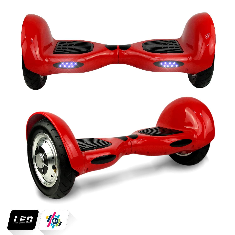 Markboard Patinete Eléctrico 10 Pulgadas Scooter Monopatín Auto- Equilibrio 350W *2 con Bluetooth CE Certificado (Rojo)