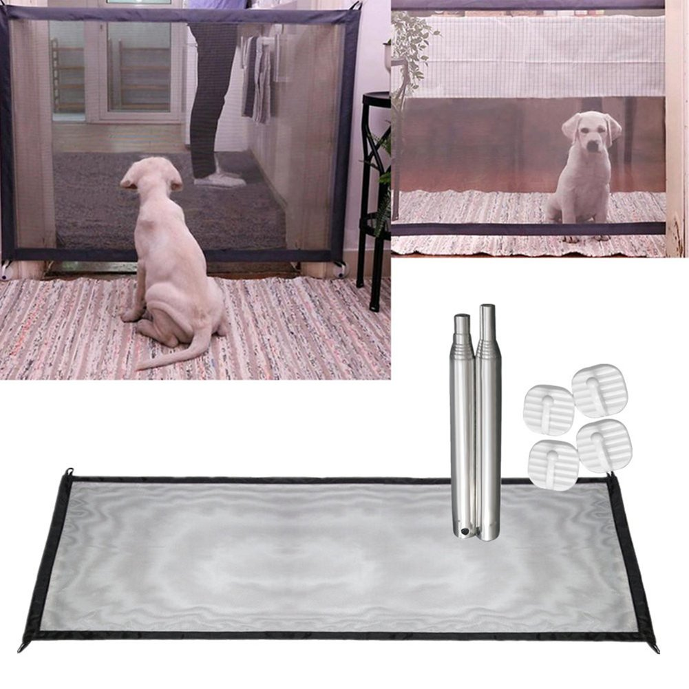 Magic-Gate Portable Folding Safe Guard Isolated Net Install Anywhere,Animals Favorite Pet Retractable Security Fence Protection (Black)