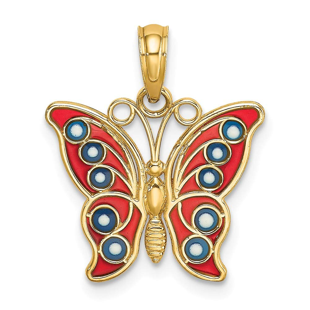 Jewels By Lux 14K Yellow Gold Butterfly with Red and Blue Stained Glass Filigree Wings Pendant