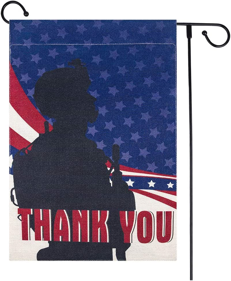 Hohomark Thank You Garden Flag,12.5'' X 18'' Burlap Small Yard Flags Veterans Day July 4th Memorial Day Outdoor Decor Yard Flags Double Sided