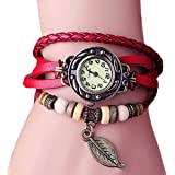 Femme Mode Watch Retro Montre Bracelet PU Cuir Quartz Perle TressE Retro Bijoux Decor Wrist Watch