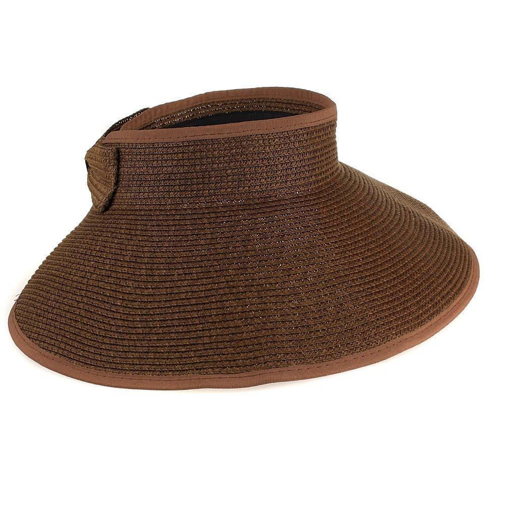 Butterme Women's Summer Foldable Roll up Wide Large Brim Beach Hat Sun Straw Hat Cap w/Cute Bowtie ZT00235MW