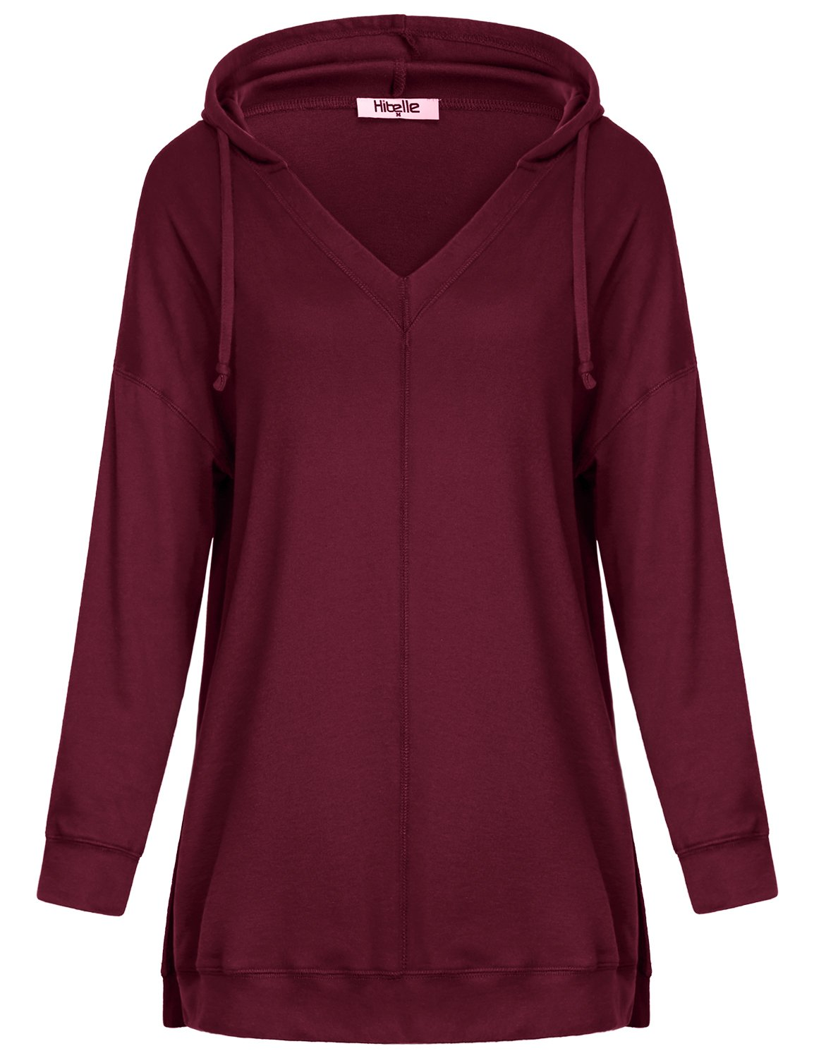 Hibelle Rouched Tops For Women, Ladies Long Drop Shoulder Sleeve A-Line Flared Hemline Loose Relaxed Fit Business Comfy Flowy Tunic Clothes Sweatshirt Wine Medium