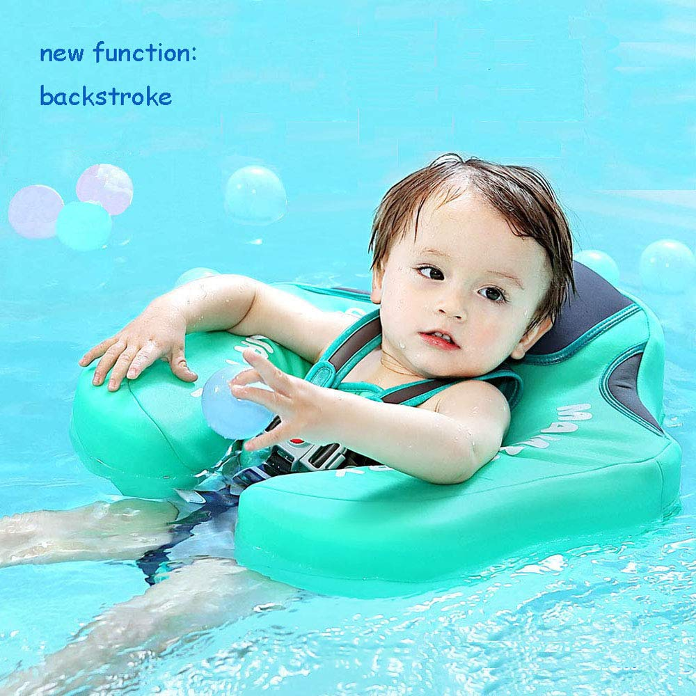 green C Upgrade 3rd Generation Baby Infant Soft Solid Non-inflatable Float Lying Swimming Ring Children Waist Float Ring Floats Pool Toys Swim Trainer Classic Sunshade Swim Ring with Sun Canopy