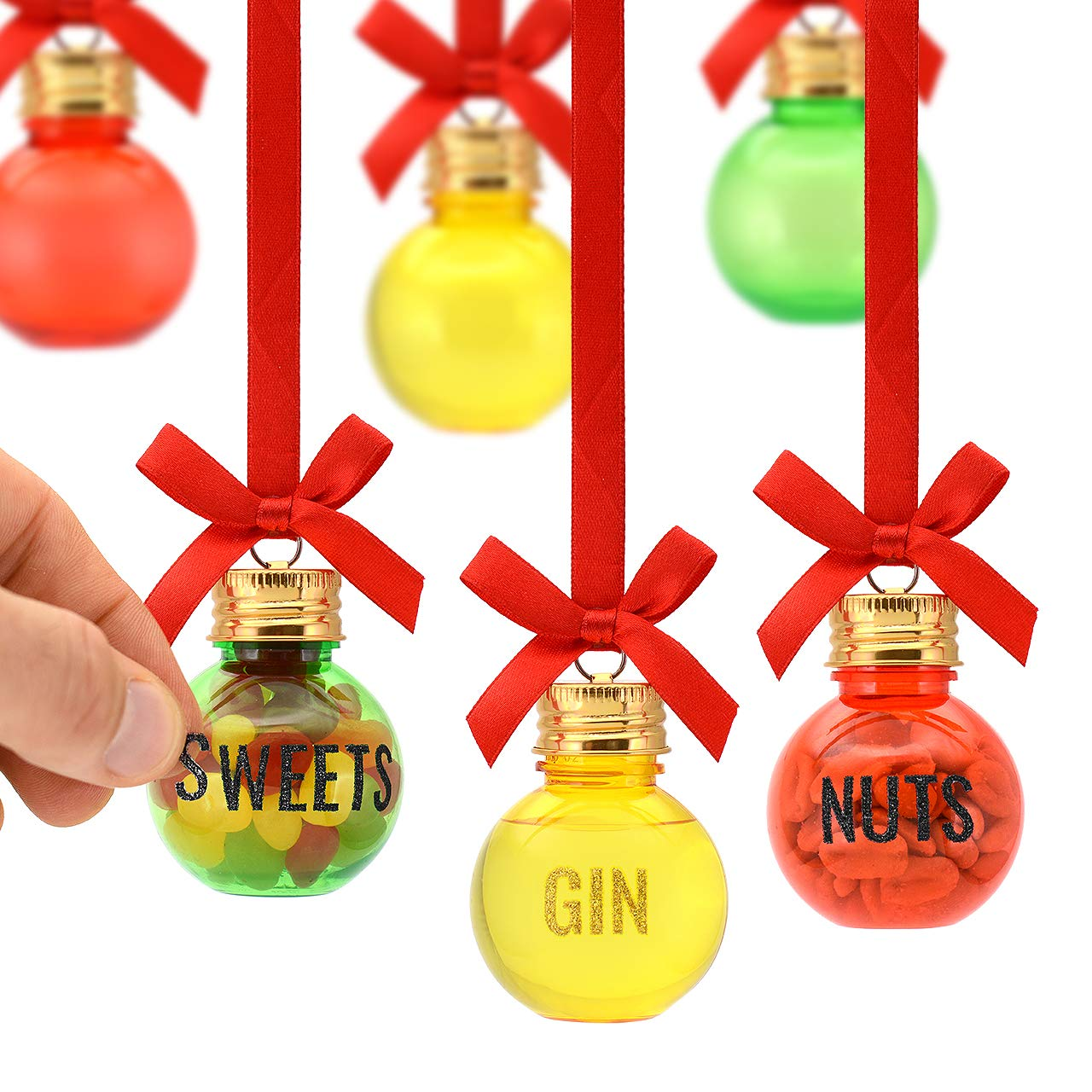 Eat, Drink and be Merry Christmas Xmas Baubles Set of 6 50ml Includes LETTER STICKERS To Personalise Fill Your Own Gift Set To Decorate With Sweets Nuts Booze Gin Vodka Whisky Rum Fillable Decorations CKB LTD