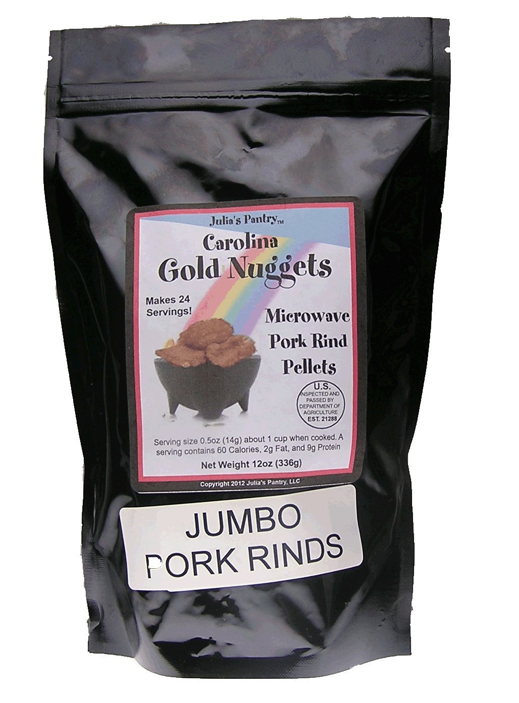 Carolina Gold Nuggets Pork Rinds Large Jumbo Chicharrones Package, 12 oz.