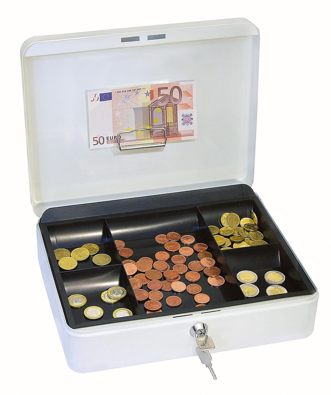 wei/ß Wedo 145400H Geldkassette mit Geldnoten- und Belegeklammer, 5 -F/ächer-M/ünzeinsatz, 30 x 24 x 9 cm