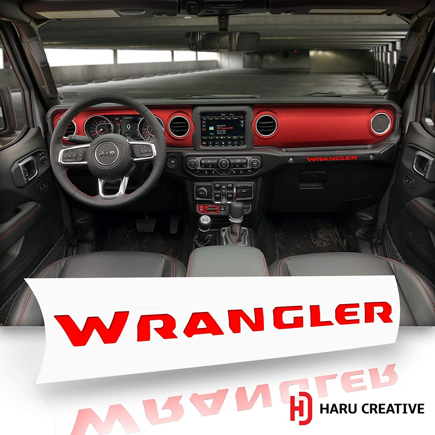 Glove Box Dashboard Letter Insert Overlay Decal Compatible with and Fits Jeep Wrangler JL 2018 Haru Creative Metallic Brushed Aluminum Red