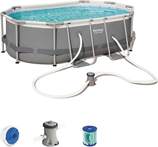 BESTWAY 56617 - Piscina Desmontable Tubular Power Steel Oval 300x200x84 cm Depuradora de cartucho de 1, 249 litros/hora: Amazon.es: Jardín