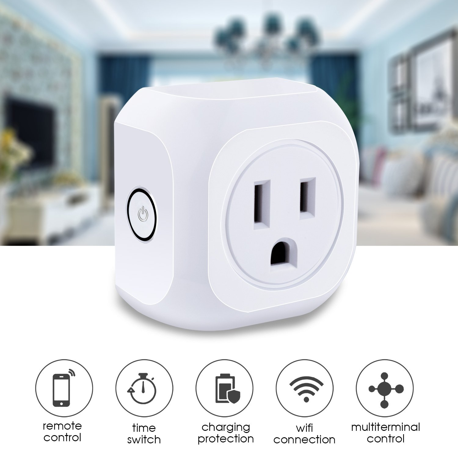 KOOTION 4 Pack Wifi Smart Plug Mini Outlet with Energy Monitoring, Compatible with Alexa Echo and Google Assistant, No Hub Required, ETL Listed, White by KOOTION (Image #2)