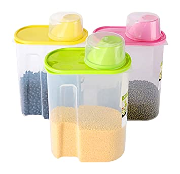 Basicwise Large BPA  Free Plastic Food Saver, Kitchen Food Cereal Storage  Containers With Graduated
