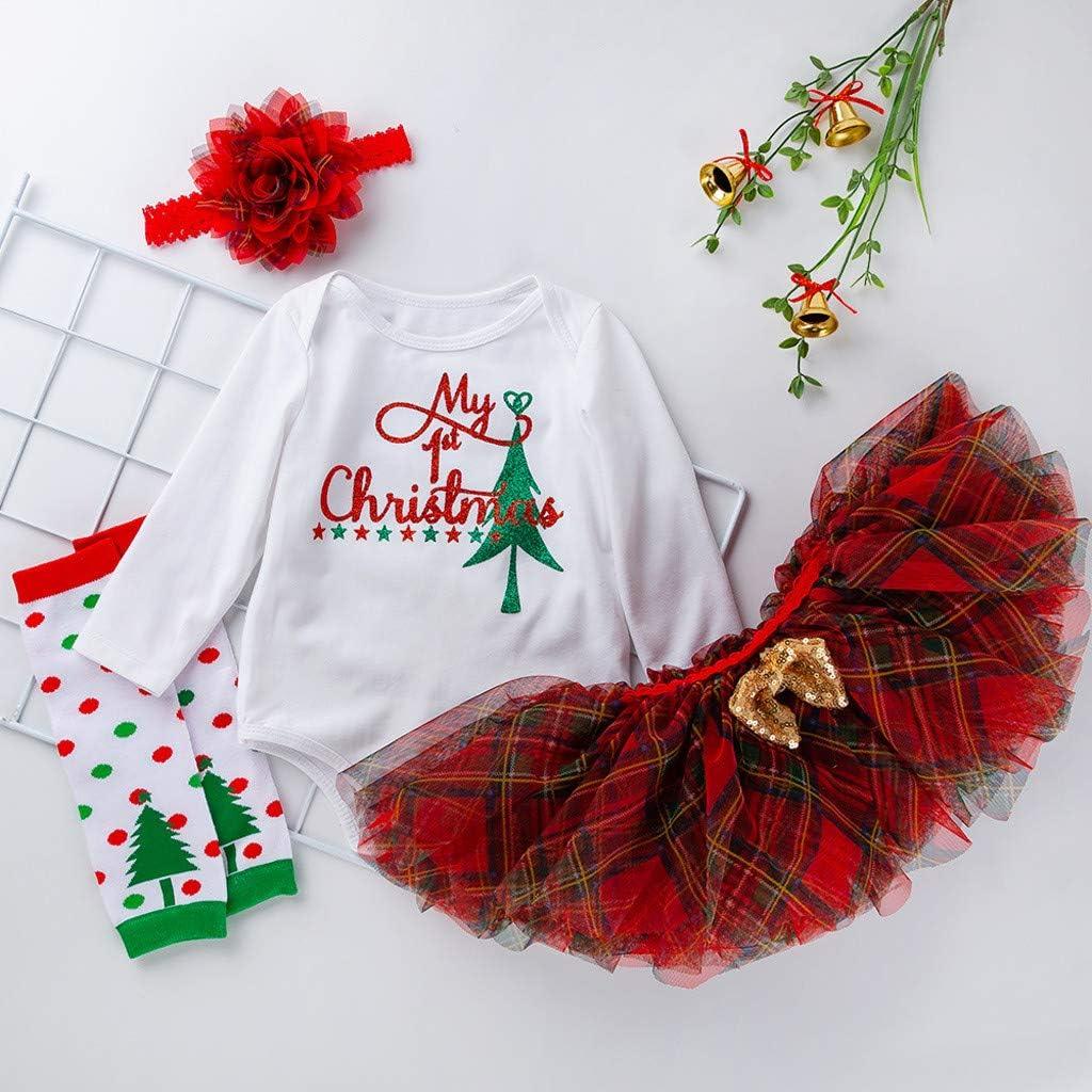 Fossen Kids 3 Piezas Traje de Navidad Vestido para Beb/é Ni/ña Mono y Tut/ú de Ni/ñas para Fiesta Conjunto de Ropa Recien Nacido Mamelucos de Manga Larga Santa Baby Lindo Oto/ño