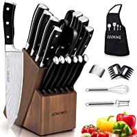 Knife Set, 22 Pieces Kitchen Knife Set with Block Wooden, Germany High Carbon Stainless...