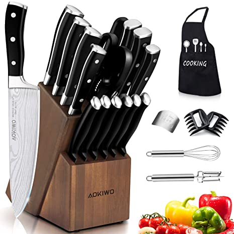 Knife Set, 21-Piece Kitchen Knife Set with Block Wooden, Germany High Carbon Stainless Steel Professional Chef Knife Block Set, Ultra Sharp, Forged, ...