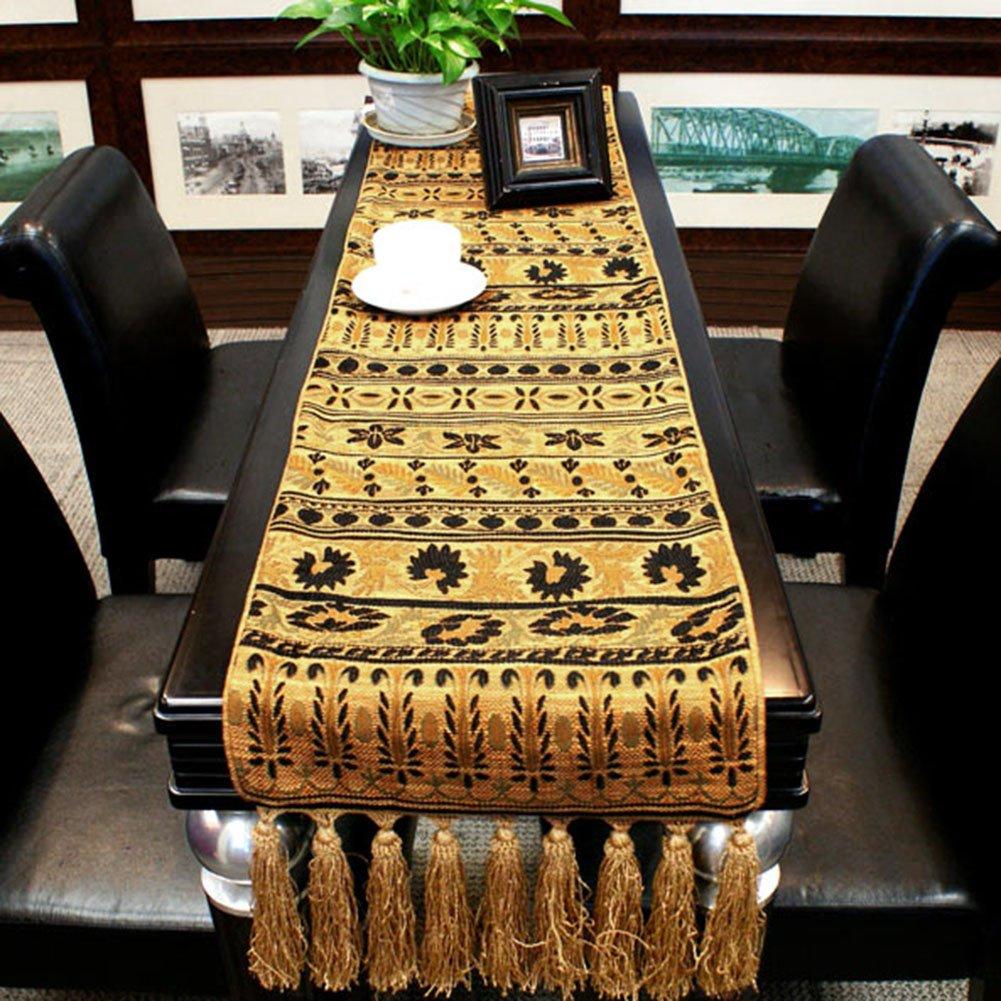 JIANFEI テーブルランナー ヨーロッパ人 ジャカード 長方形 高品質 タッセル カバー布、 ゴールデン、 オプションの4サイズ (サイズ さいず : 35.5*200cm) 35.5*200cm  B07BK78YRZ