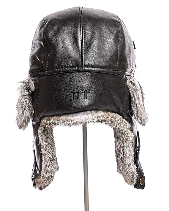 c1ca4561e326b frr Leather Rabbit Fur Aviator Hat at Amazon Men s Clothing store