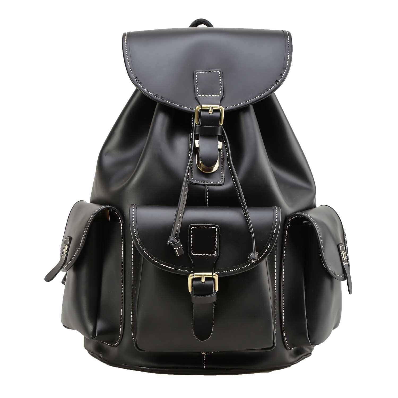 Polare Full Grain Leather Backpack Vintage College Laptop Bag (Black)