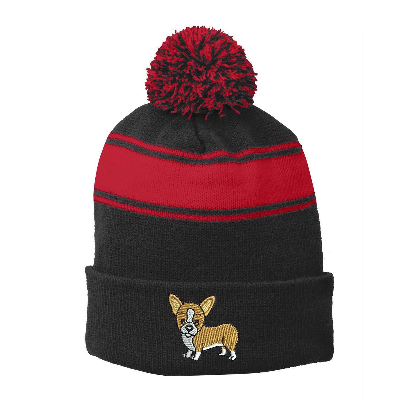 6 Colors INK STITCH Stc28 Welsh Corgi Dog Winter Pom Pom Beanie Hats