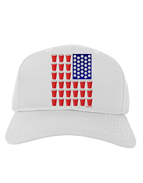 6713758d082 Amazon.com  TooLoud Beer Pong Flag Adult Baseball Cap Hat - White  Clothing