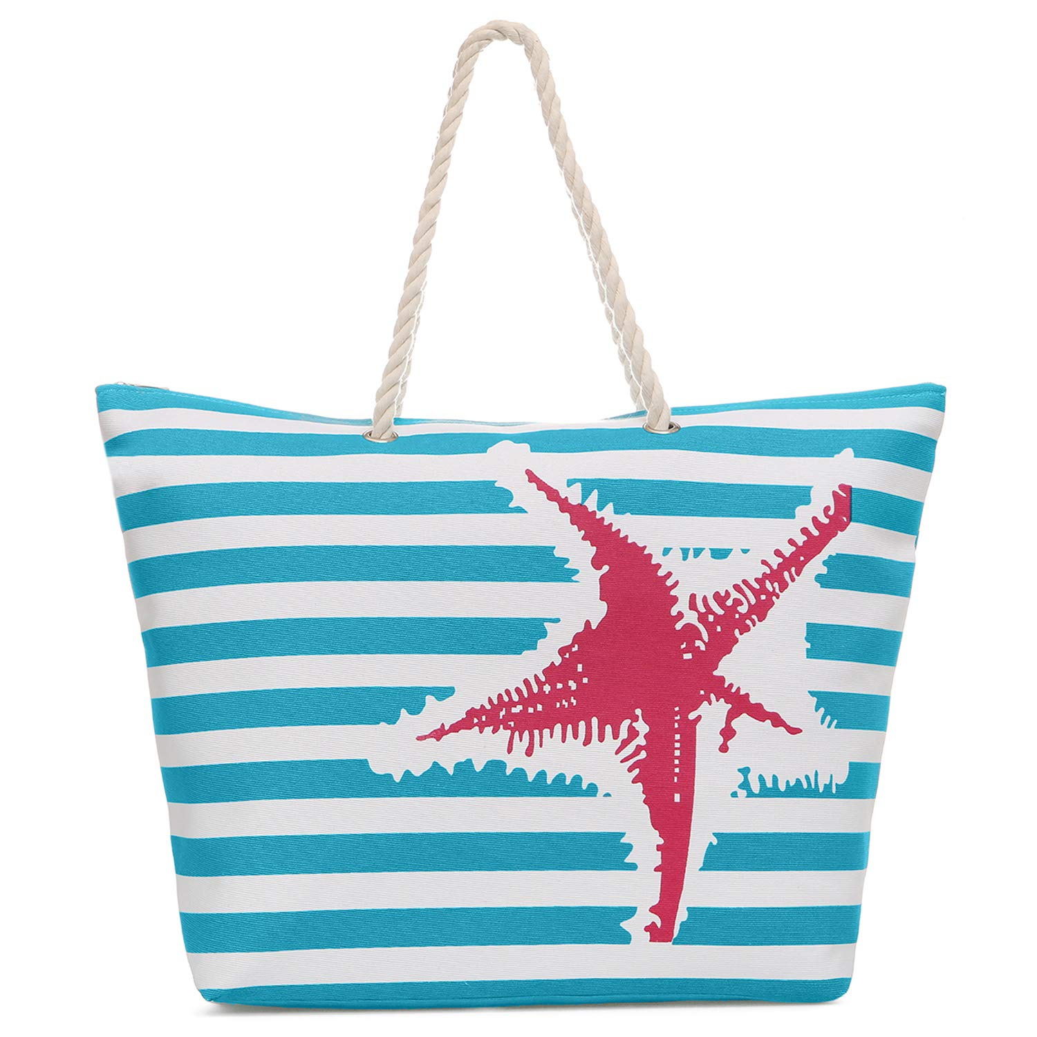 Large Canvas Striped Beach Bag - Top Zipper Closure - Waterproof Lining - Tote Shoulder Bag For Gym Beach Travel (Turquoise starfish)