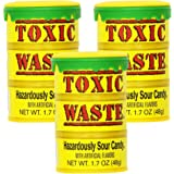 Toxic Waste Hazardously Sour Candy Drum 1.7oz (Pack of 3)