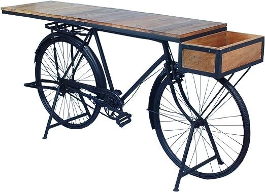 Mesa Entrada Bicicleta Retro Madera y Metal 184 cm: Amazon.es: Hogar