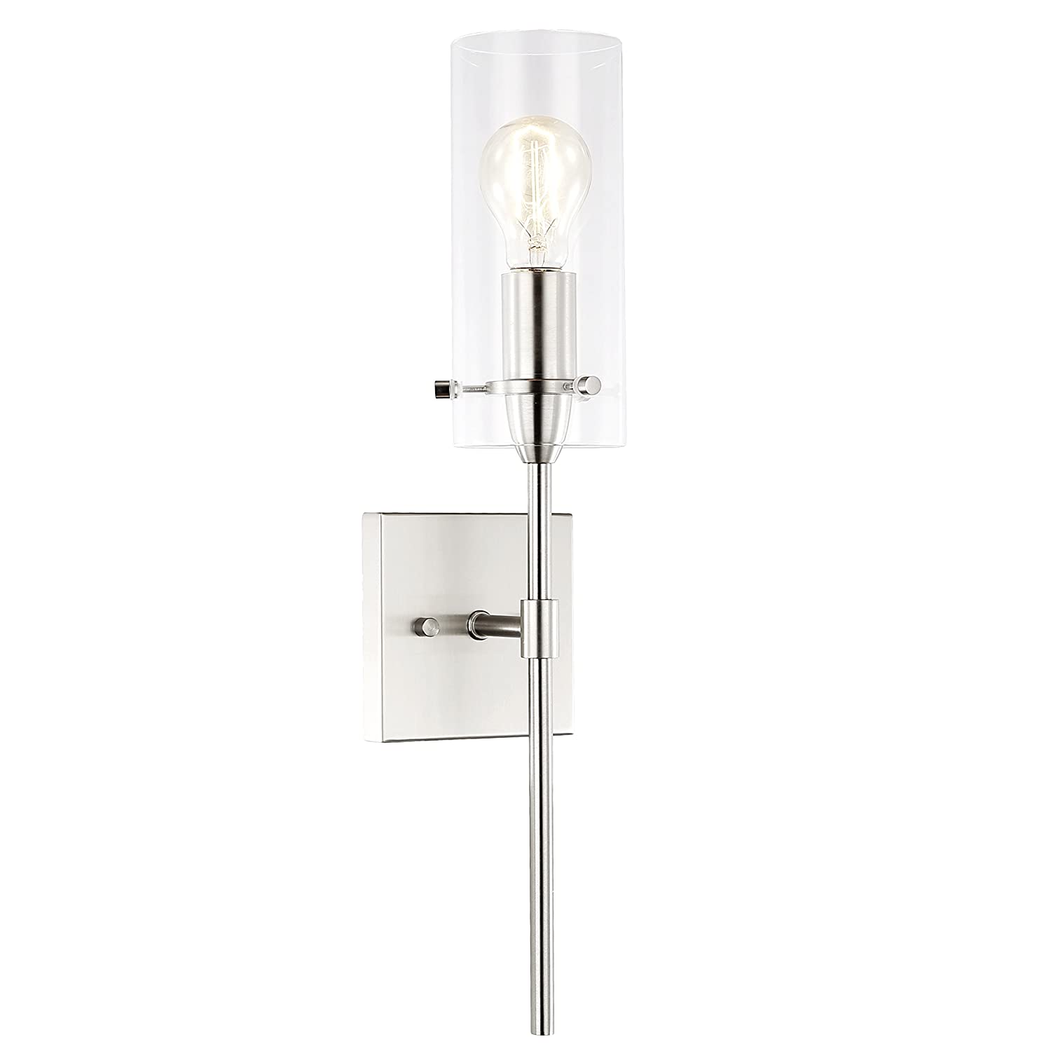 Light society montreal cylindrical wall sconce satin nickel with clear glass shade contemporary minimalist modern lighting fixture ls w238 sn cl