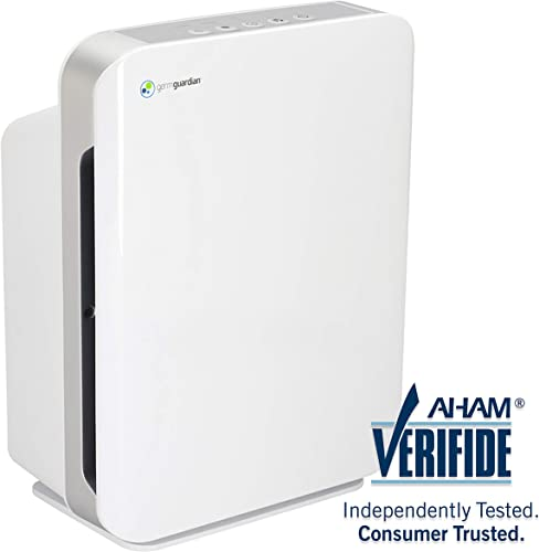 Germ Guardian Air Purifier, High CADR True HEPA Filter for Home, Large Rooms to 338'sq ft, Filters Allergies, Pollen, Smoke, Dust, Pet Dander, UVC Sanitizer Eliminates Germ, Mold, Odors,Quiet AC5900W
