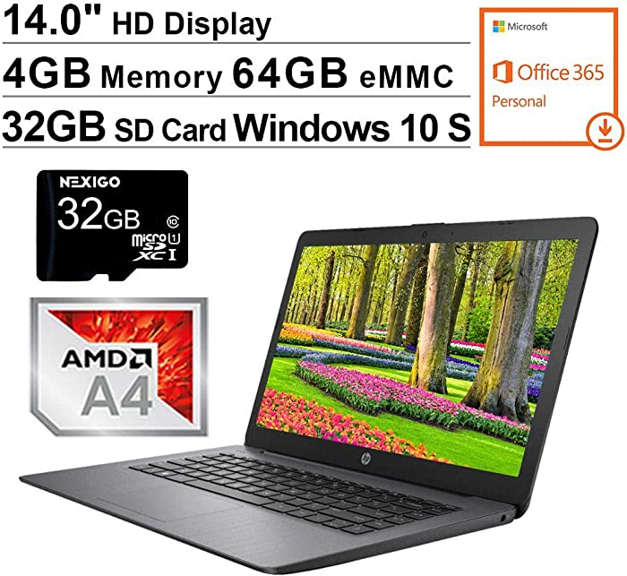 2020 Newest HP Stream 14 Inch Non-Touch Laptop, AMD A4-9120e up to 2.5 GHz, 4GB RAM, 64GB eMMC, Windows 10 S (1 Year Office 365 Personal Included), Black + NexiGo 32GB MicroSD Card Bundle