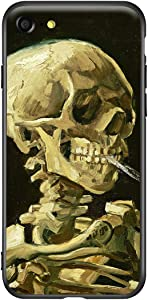 Compatible with iPhone SE (2020) case/iPhone 7 case/iPhone 8 case Cute Art Case Cover for Women, Slim Fit Thin with Screen Protector (Head of a Skeleton with a Burning Cigarette by Vincent Van Gogh)