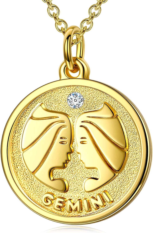 FANCI Collar, 12 Signos del Zodiaco, Plata de Ley 925, Zirconia de Swarovski, Champagne-Oro Chapado, Regalo de San Valentín
