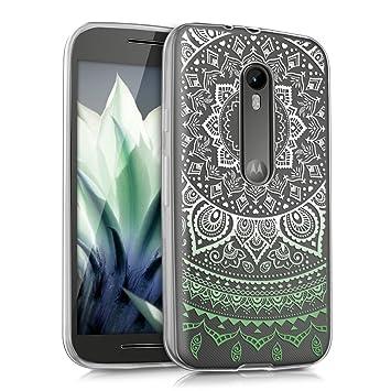 kwmobile Funda para Motorola Moto G (3. Gen) - Carcasa de [TPU] para móvil y diseño de Sol hindú en [Menta/Blanco/Transparente]