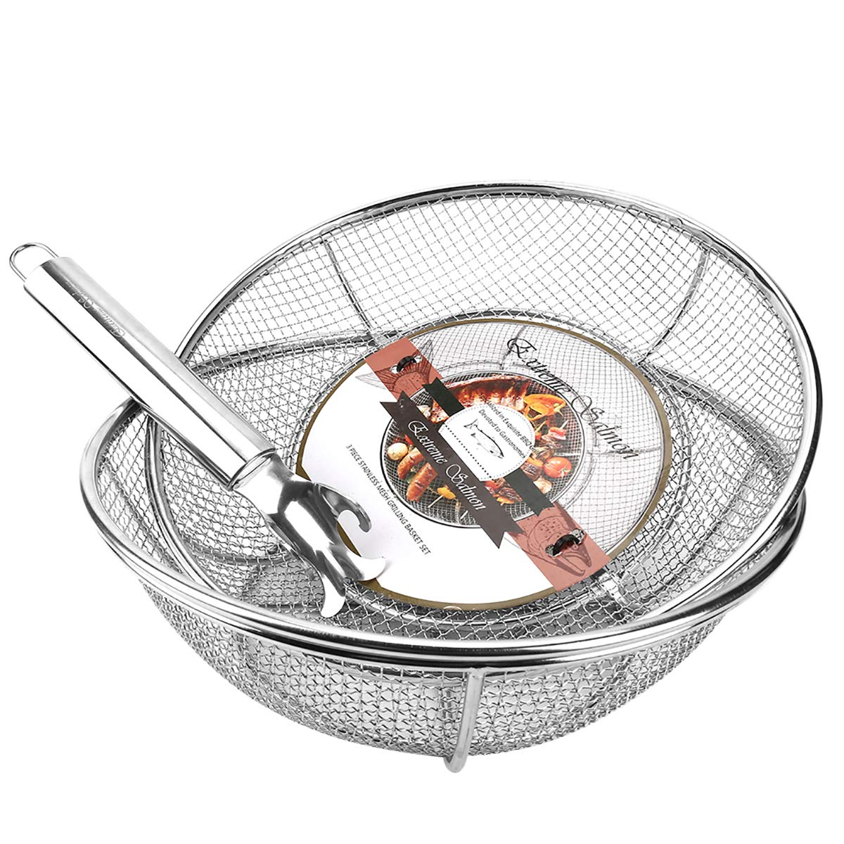Grill Basket, Grill Accessories Set Heavy Duty Barbecue Grilling Basket Vegetables Stainless Steel Veggies Grill Topper Cookware with Handles Charcoal Gas Outdoor Grill Cooking by Extreme Salmon