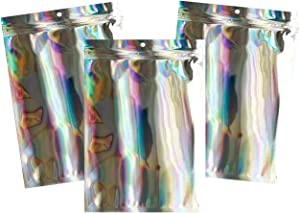 Thick Foil Flat Zip lock Pouches, Metalized Food Barrier Bags, Resealable & Strong, 100 Count (4×6 Inch, Clear Front-Holographic)