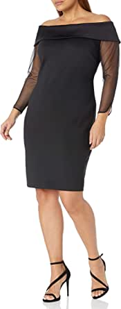 Calvin Klein Womens CX9M19YX Plus Size Off The Shoulder Sheath with Illusion Sleeves 3/4 Sleeve Dress