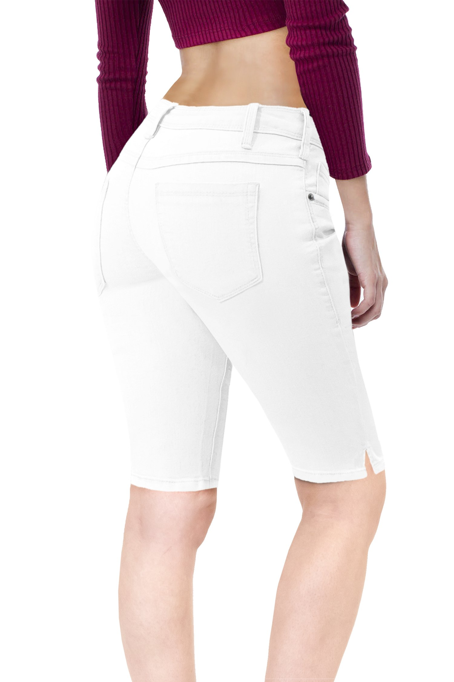 HyBrid & Company Women's Stretchy Denim Bermuda ShortB19411 White 7
