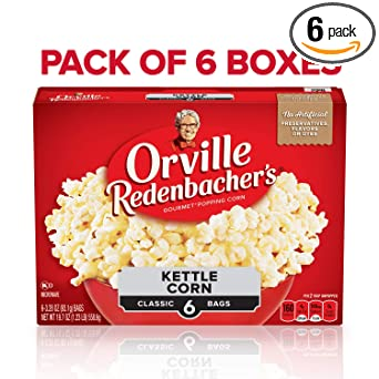 Orville Redenbachers Kettle Corn Microwave Popcorn, 3.28 Ounce Classic Bag, 6-Count, Pack of 6