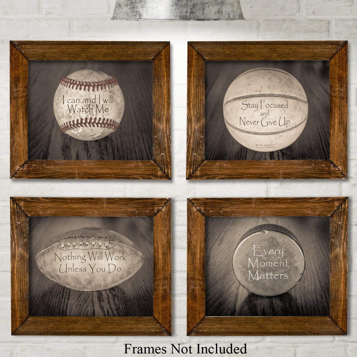 Inspirational Sports Quotes Unframed 8x10 Makes a Great Gift Under $20 for Boys Room Decor Set of Four Photos