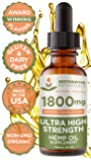 Ultra High Strength Hemp Oil for Pain Relief - 1800mg Mandarin Orange Flavor 1 Ounce (30ml) - 60 Servings - Restorative Botanicals - Also Supports Healthy Sleep Patterns, Mental Clarity