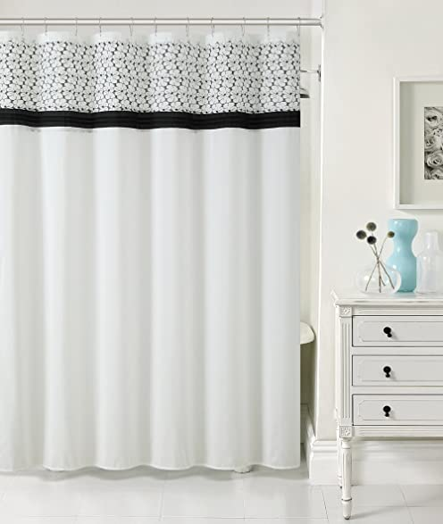 Luxury Home Madeline Faux Silk Shower Curtain Black White