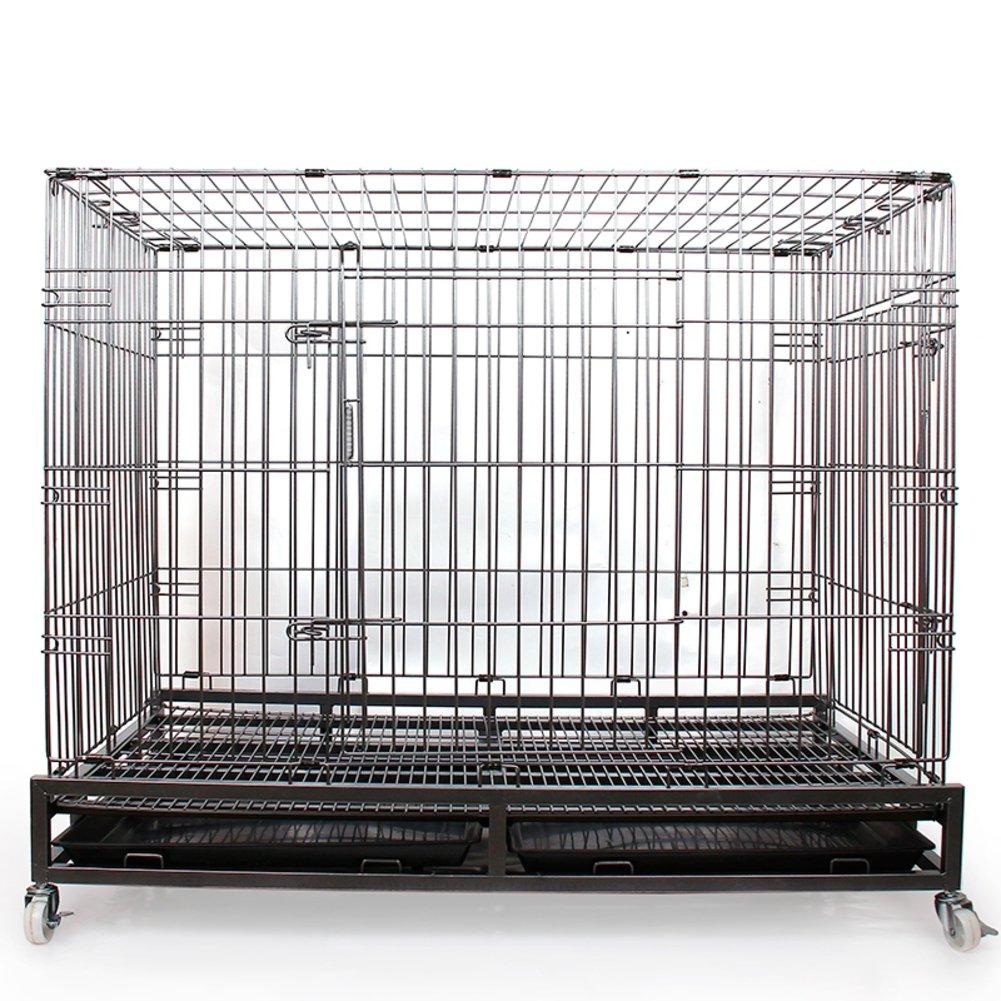 折り畳み式の金属製犬クレート,大型犬 cagepet 荒いワイヤー車輪およびトレイ付きケージ ステンレス犬ケージ箱を折りたたみ-シングルドア 110x73x95cm(43x29x37inch) B07D1LFN8X 28666  シングルドア 110x73x95cm(43x29x37inch)