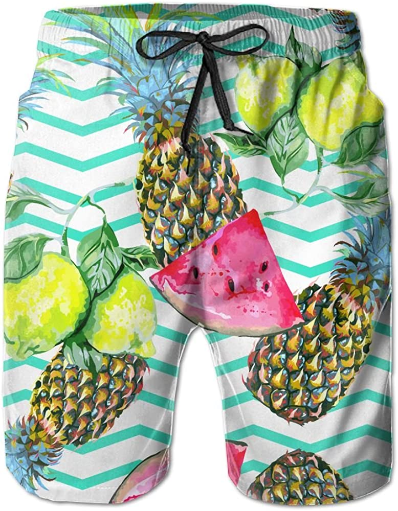 LUASD Mens Tropical Summer Pattern Quick Drying Breathable Surf Pants Swim Trunks
