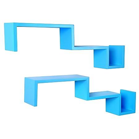 woltu 2 x floating wall shelves storage blue stylish s shaped lounge rh amazon co uk