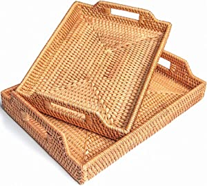 Rattan Storage Fruit Basket Candy Snack Cutlery Serving Trays with Handles Breakfast, Food, Coffee, Bread Serving Baskets (Set of 2: M+L)